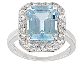 Pre-Owned Sky Blue Topaz rhodium over silver ring 5.39ctw