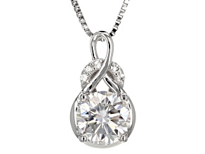Pre-Owned Moissanite Fire® 1.55ctw Diamond Equivalent Weight Round Platineve™ Pendant With Chain