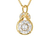 Pre-Owned Moissanite Fire® 1.55ctw DEW Round 14k Yellow Gold Over Silver Pendant With Chain