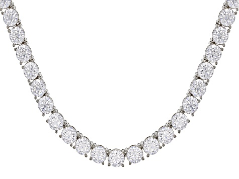 Pre-Owned White Zirconia From Swarovski ® Platinum Over Sterling Silver Tennis Necklace 57.50ctw