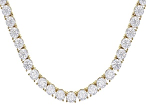 Pre-Owned White Zirconia From Swarovski ® 18K Yellow Gold Over Sterling Silver Tennis Necklace 57.50