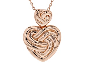 Pre-Owned Copper Heart Knot Enhancer With Chain Necklace