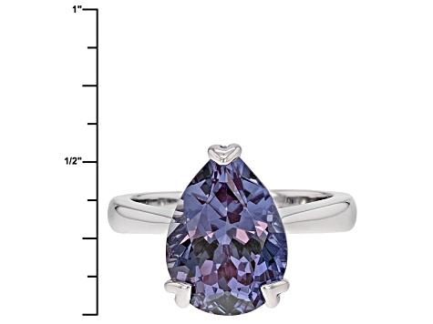 Pre-Owned Color Change Lab Created Purple Sapphire Sterling Silver Ring 6.46ct
