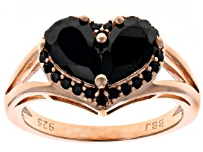 Pre-Owned Black Spinel 18k Rose Gold Over Silver Ring 2.06ctw