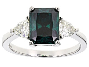 Pre-Owned Green And White Moissanite Platineve Ring 3.30ctw D.E.W