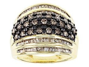 Pre-Owned Champagne And White Diamond 10k Yellow Gold Ring 1.50ctw