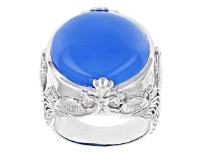 Pre-Owned Blue Chalcedony Sterling Silver Solitaire Ring