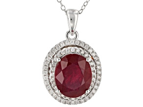 Pre-Owned Red Mahaleo® Ruby Rhodium Over Silver Pendant With Chain 4.00ctw