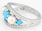 Pre-Owned Blue turquoise rhodium over silver ring .51ctw