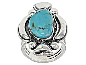 Pre-Owned Blue Turquoise Silver Solitaire Ring
