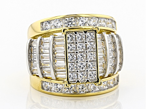 Pre-Owned White Cubic Zirconia 18K Yellow Gold Over Sterling Silver Cluster Ring With Bands 5.98ctw