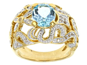 Pre-Owned Sky Blue Topaz 18k Yellow Gold Over Sterling Silver Ring 3.54ctw