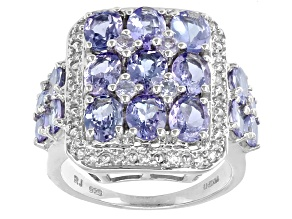 Pre-Owned Blue Tanzanite And White Zircon Sterling Silver Cluster Ring 3.79ctw