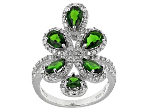 Pre-Owned Green Chrome Diopside And White Zircon Sterling Silver Ring 3.21ctw