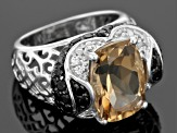Pre-Owned Brown Bolivian Champagne Quartz Sterling Silver Ring 7.48ctw