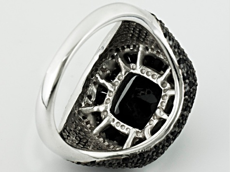 Pre-Owned Black Spinel Sterling Silver Ring 7.33ctw.