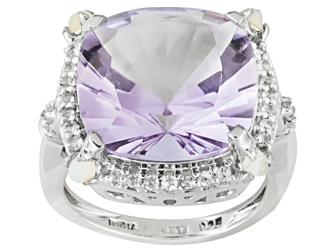 Pre-Owned 10.50ct Brazilian Amethyst With .16ctw Ethiopian Opal And .41ctw White Topaz Sterling Silv