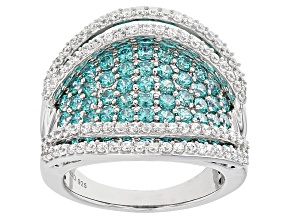 Pre-Owned Swarovski ® Green Zirconia & White Cubic Zirconia Rhodium Over Silver Rinf 5.56ctw