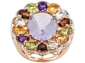 Pre-Owned Amethyst, Aquamarine, Citrine, Garnet, And Peridot , 18k Rose Gold Over Sterling Silver Ri