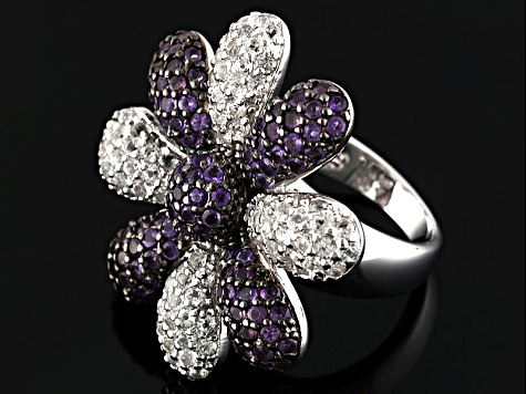 Pre-Owned Purple African Amethyst Sterling Silver Flower Ring 3.81ctw