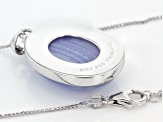 Pre-Owned Blue Lace Agate Sterling Silver Pendant With Chain