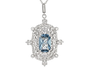 Pre-Owned Lab Created Blue Spinel And White Cubic Zirconia Silver Pendant With Chain 8.73ctw