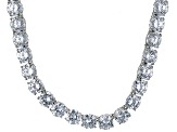Pre-Owned Bella Luce® 126.64ctw Diamond Simulant Rhodium Over Silver Tennis Necklace