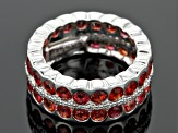 Pre-Owned Red Winza Sapphire Sterling Silver Eternity Band Ring 8.19ctw