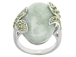 Pre-Owned Green Jadeite Sterling Silver Ring. .83ctw
