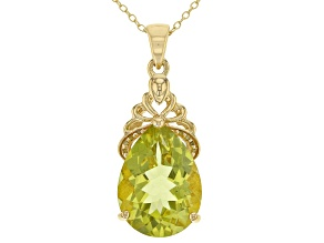 Pre-Owned Yellow Canary quartz 18k yellow gold over silver pendant with chain 8.83ctw