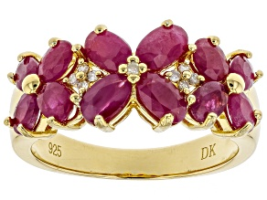 Pre-Owned Red ruby 18k gold over silver ring 2.83ctw