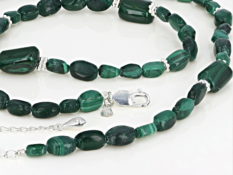Pre-Owned Green Malachite Sterling Silver Necklace
