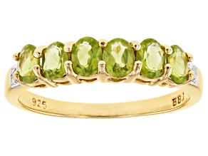 Pre-Owned Green vesuvianite 18k gold over silver band ring .92ctw