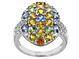 Pre-Owned Multi Color Sapphire And White Zircon Sterling Silver Ring 3.36ctw