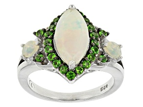 Pre-Owned Ethiopian Opal And Chrome Diopside Sterling Silver Ring. 1.84ctw