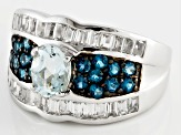 Pre-Owned Blue Brazilian Aquamarine Sterling Silver Ring 1.93ctw
