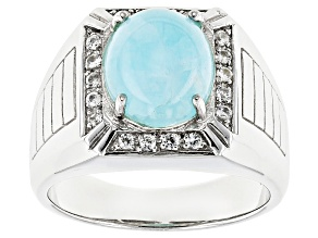 Pre-Owned Blue Hemimorphite Sterling Silver Men's Ring .32ctw