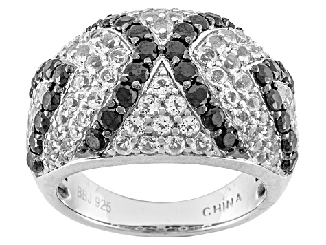 Pre-Owned Black Spinel Sterling Silver Dome Ring 3.19ctw