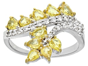 Pre-Owned Yellow Sapphire Silver Ring 2.07ctw