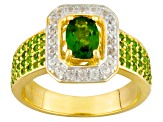 Pre-Owned Green Chrome Diopside And White Zircon 18k Gold Over Sterling Silver Ring 1.42ctw