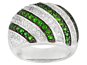Pre-Owned Green Chrome Diopside And White Zircon Sterling Silver Dome Ring 1.00ctw