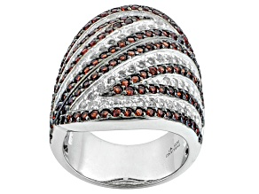 Pre-Owned Red Garnet And White Topaz Sterling Silver Ring 4.20ctw.