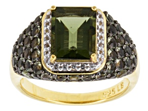 Pre-Owned Green Moldavite And White Topaz 18k Yellow Gold Over Silver Ring 2.77ctw