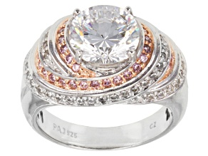 Pre-Owned Pink And White Cubic Zirconia Two Tone Ring 5.91ctw