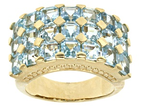 Pre-Owned Sky Blue Topaz 18k Yellow Gold Over Sterling Silver Ring 6.81ctw