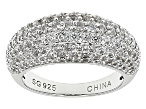 Pre-Owned White Zircon Sterling Silver Dome Ring 3.02ctw.