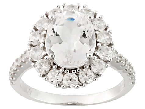 Pre-Owned White Danburite And White Zircon Sterling Silver Ring 3.90ctw