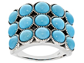 Pre-Owned Turquoise Sleeping Beauty Sterling Silver Ring