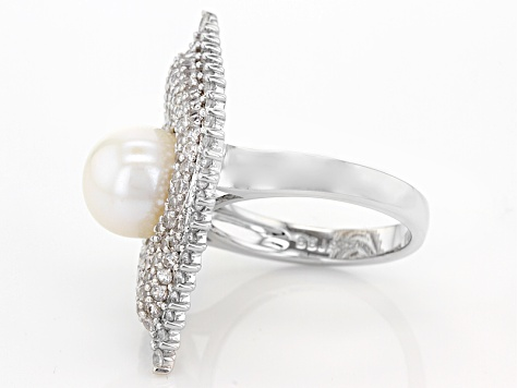 Pre-Owned Cultured Freshwater Pearl And Zircon Rhodium Over Silver 9.5-10mm