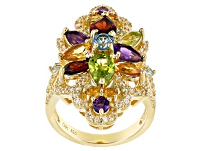 Pre-Owned Multi-gem 18k gold over silver cluster ring 4.69ctw